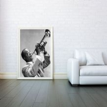 Louis Armstrong, Trumpet and Cornet Player, Decorative Arts, Prints & Posters,Wall Art Print, Poster Any Size - Black and White Poster